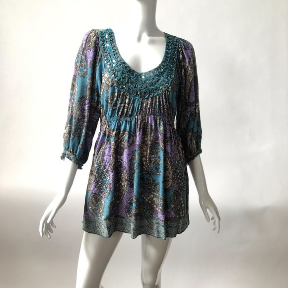 Love and Let Live Tops - Purple Paisley BOHO Top